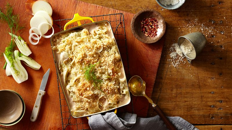 Fennel Gratin with Parmesan Bread Crumbs