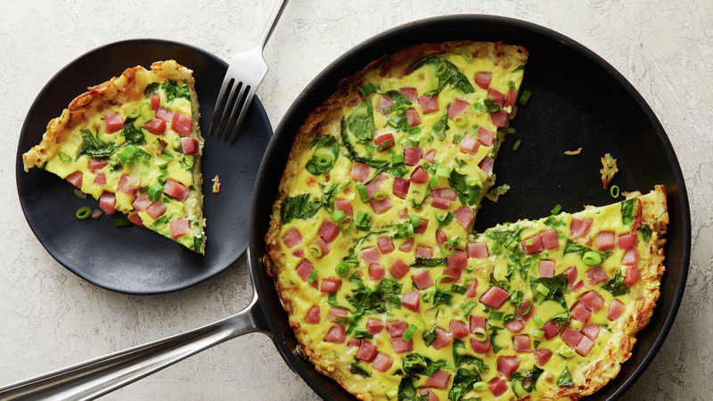 Ham and Spinach Hashbrown Breakfast Skillet