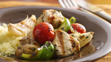 Greek-Style Turkey Kabobs with Couscous