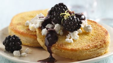 Biscuit Corn Cakes with Goat Cheese and Blackberry-Thyme Sauce
