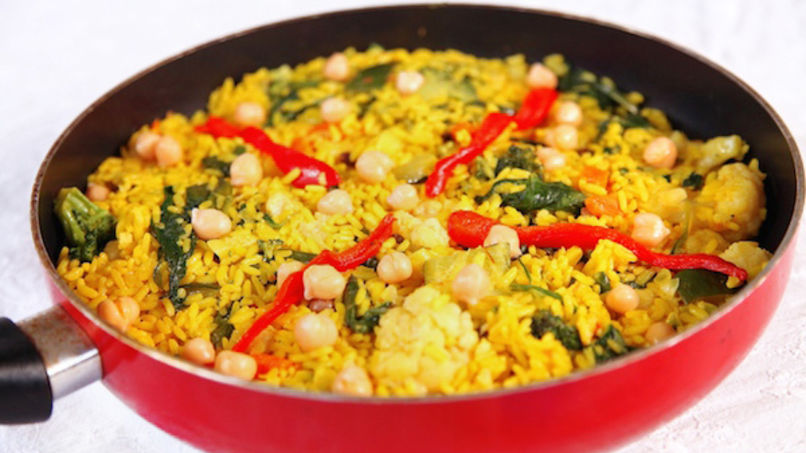 Vegetable Paella with Red Pepper and Chickpeas